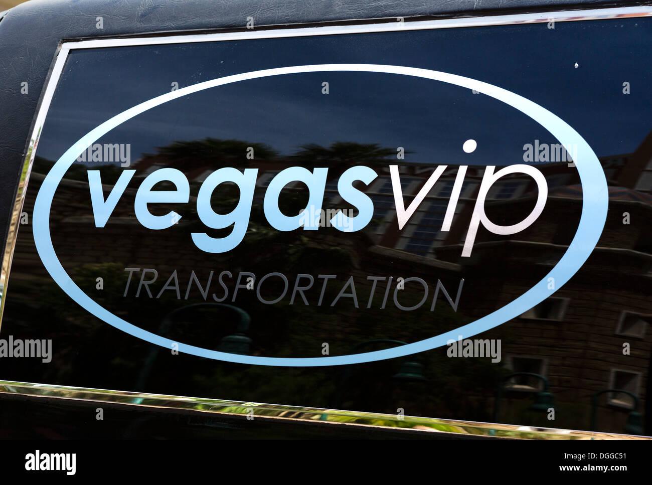 Logo on window of Vegas VIP Transportation stretch limousine, Las Vegas, Nevada, USA - Stock Image