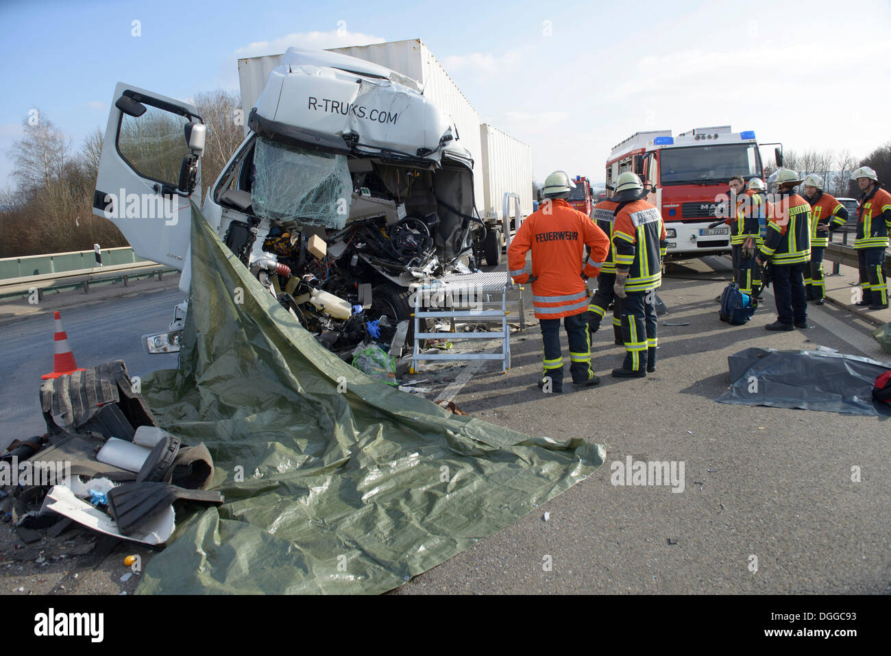 Accident scene, smashed truck cab, fatal truck collision on the A81 ...