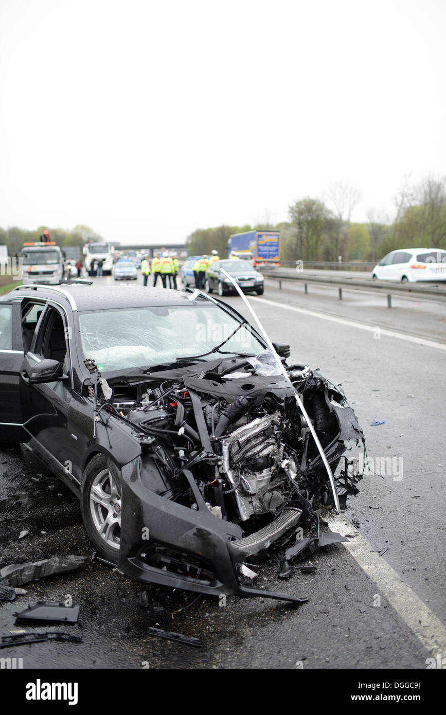 Fatal road traffic accident caused by a wrong-way driver on the A 81 motorway, Autobahn, Sindelfingen, Baden-Württemberg - Stock Image