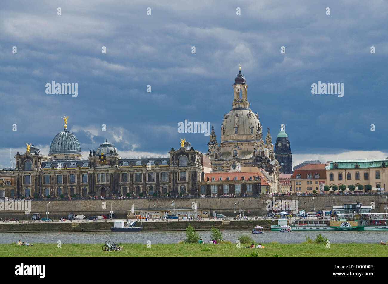 Bruehl's Terrace and Frauenkirche church, as seen across the river Elbe, Dresden, Saxony - Stock Image