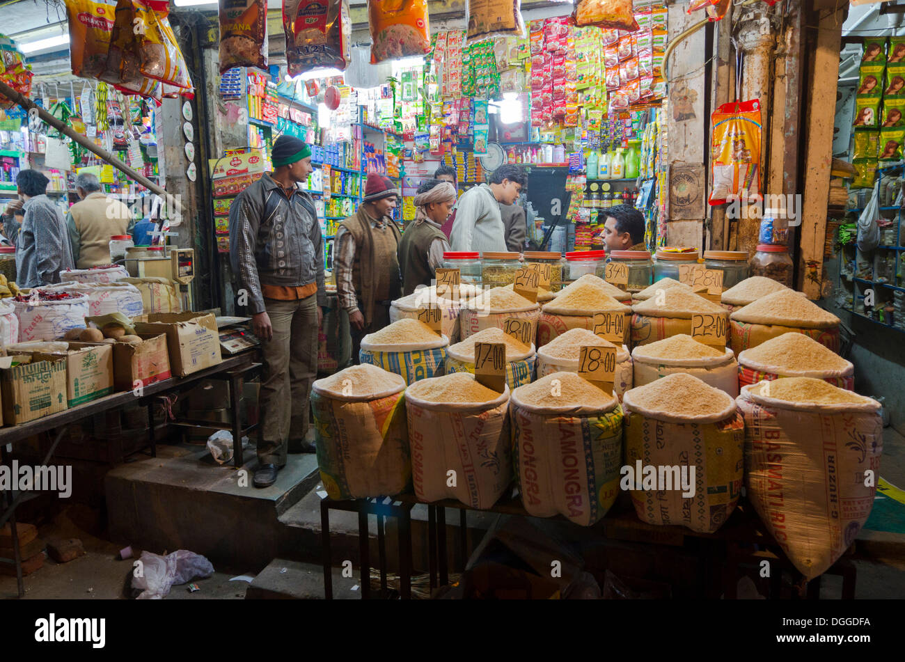 Rice sold at nightmarket in Paharganj, New Delhi, India, Asia - Stock Image