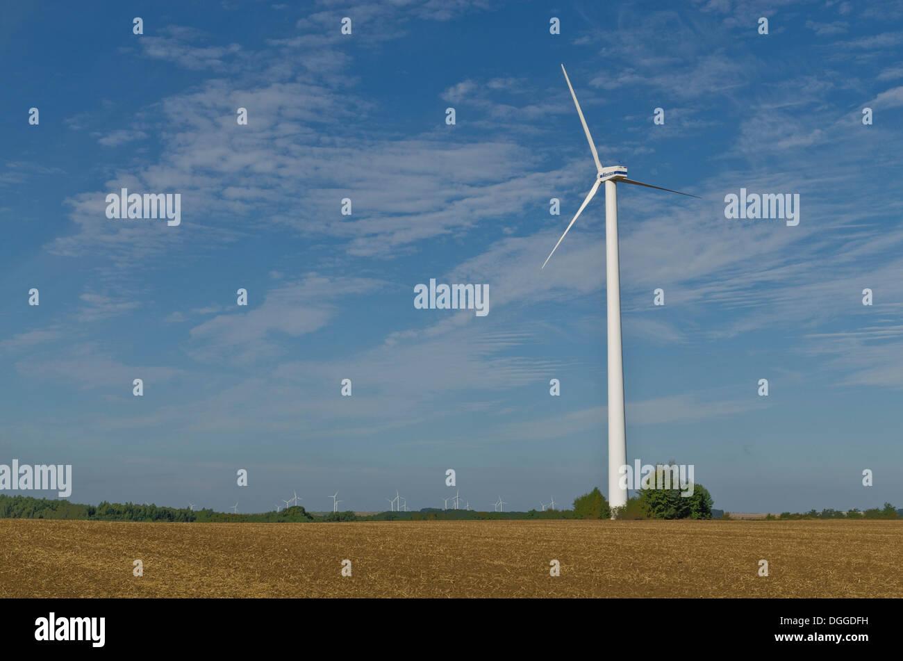 One wind powerplant in agriculture landscape, Deutschenbora, Saxony - Stock Image