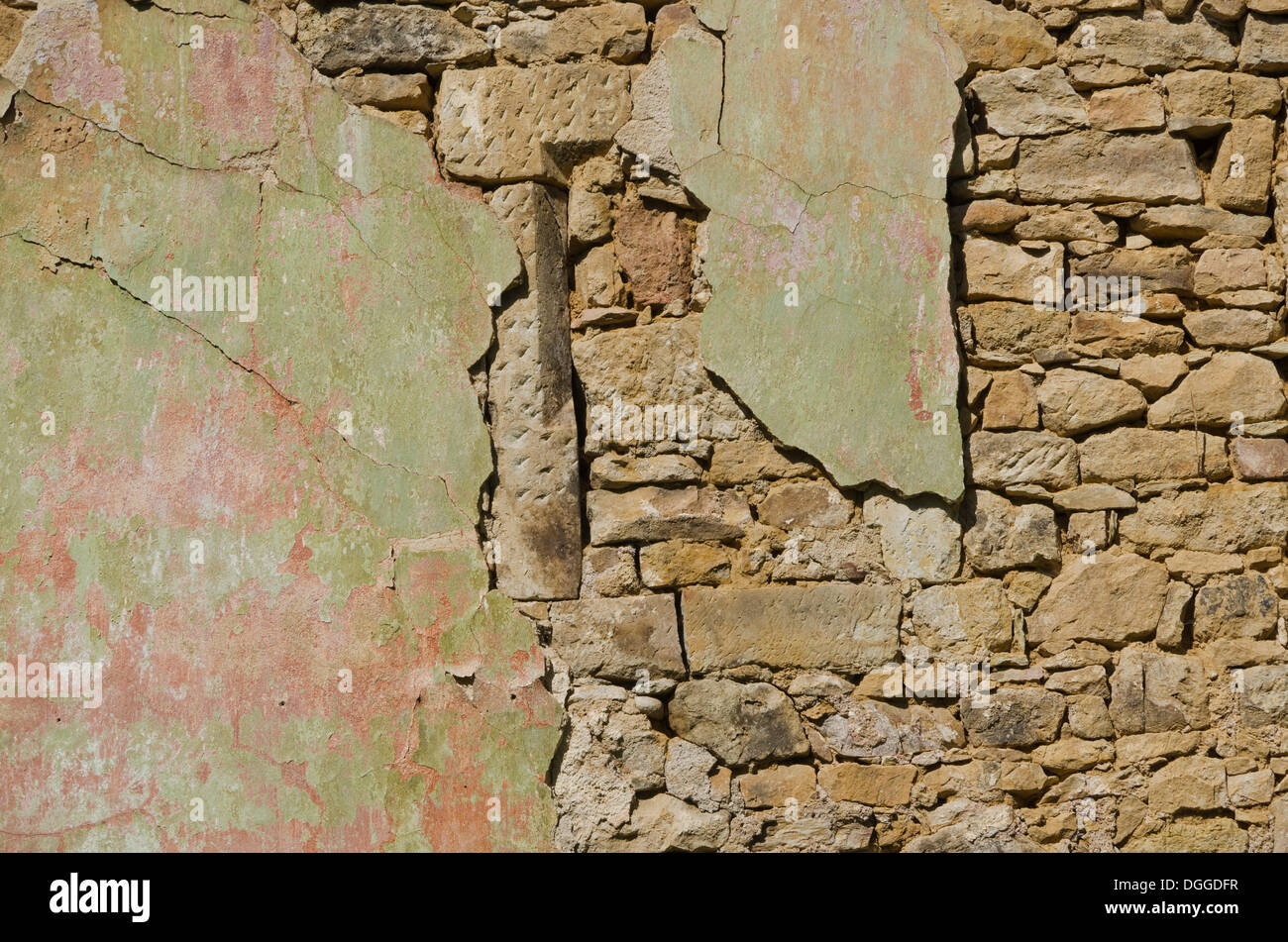 Broken wall of an old building, Zuschendorf, Saxony - Stock Image