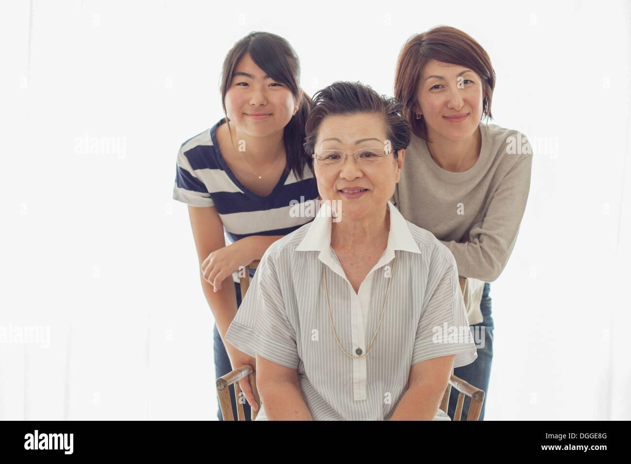Three female relatives, portrait - Stock Image