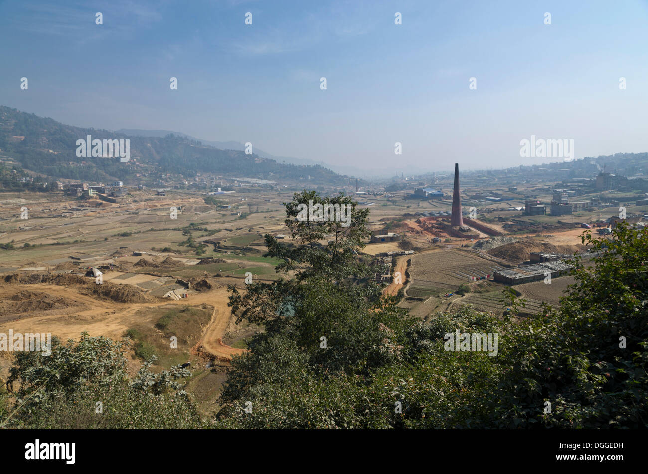 Brick factories located west of Kathmandu, west of Kathmandu, Kathmandu District, Bagmati Zone, Nepal - Stock Image