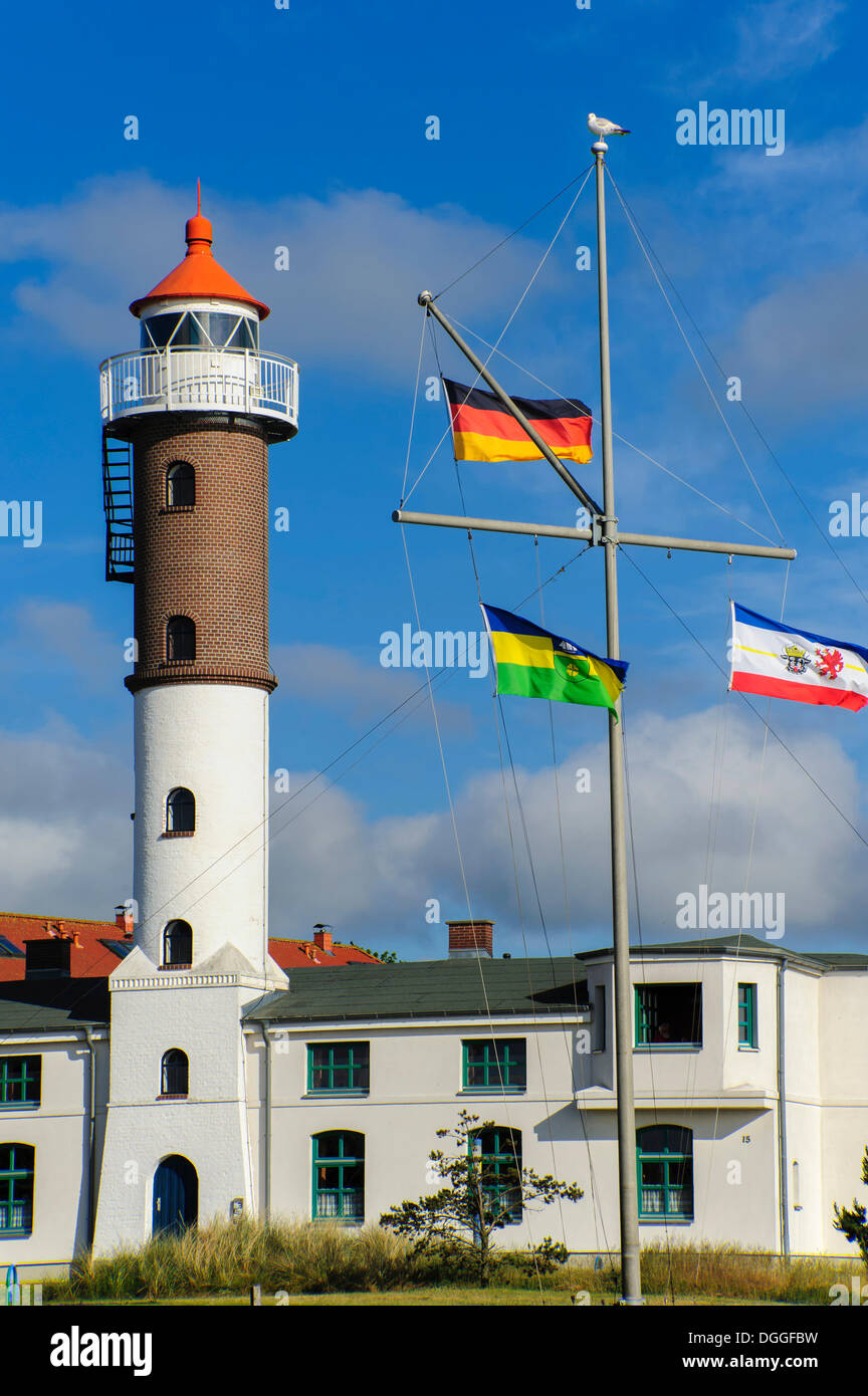 Timmendorf lighthouse with flagpole, Timmendorf, Poel island, Mecklenburg-Western Pomerania - Stock Image