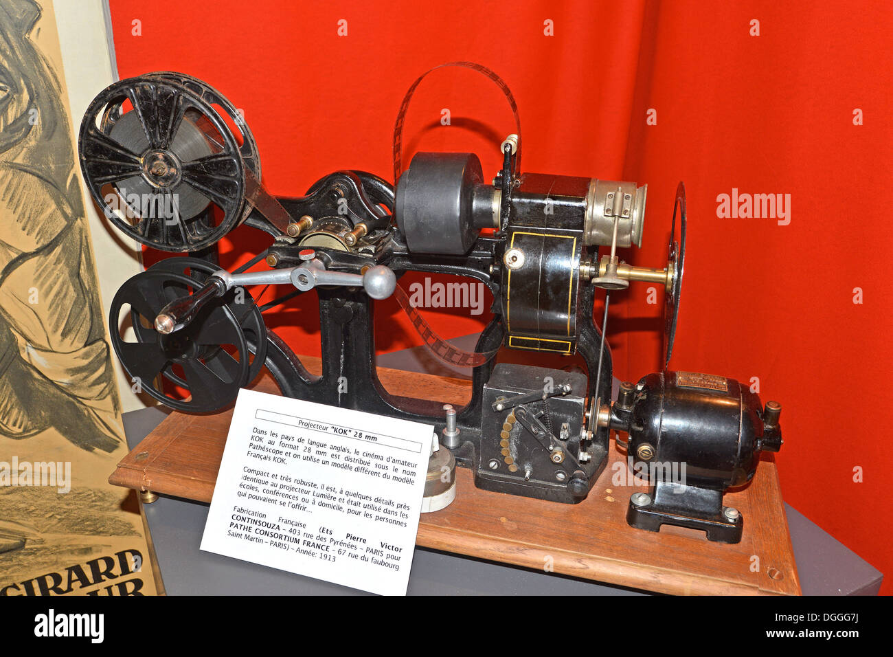 film projector KOK 28 mm made by Ets Victor Continsouza for Pathe Consortium France, Paris 1913 - Stock Image