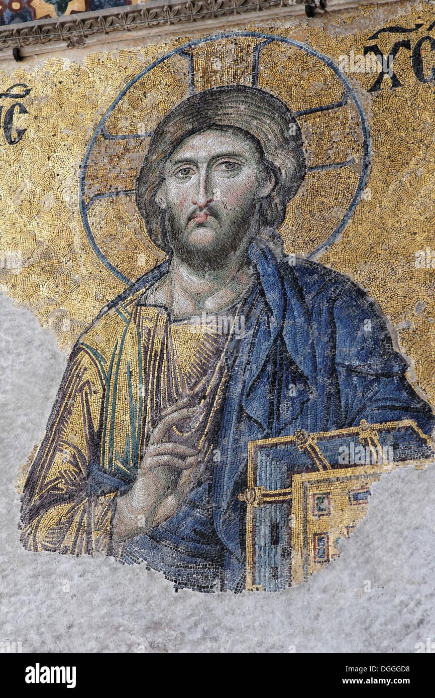 Christ Pantocrator, image of Jesus Christ, Deesis mosaic in the southern gallery, Hagia Sophia, Ayasofya, interior Stock Photo