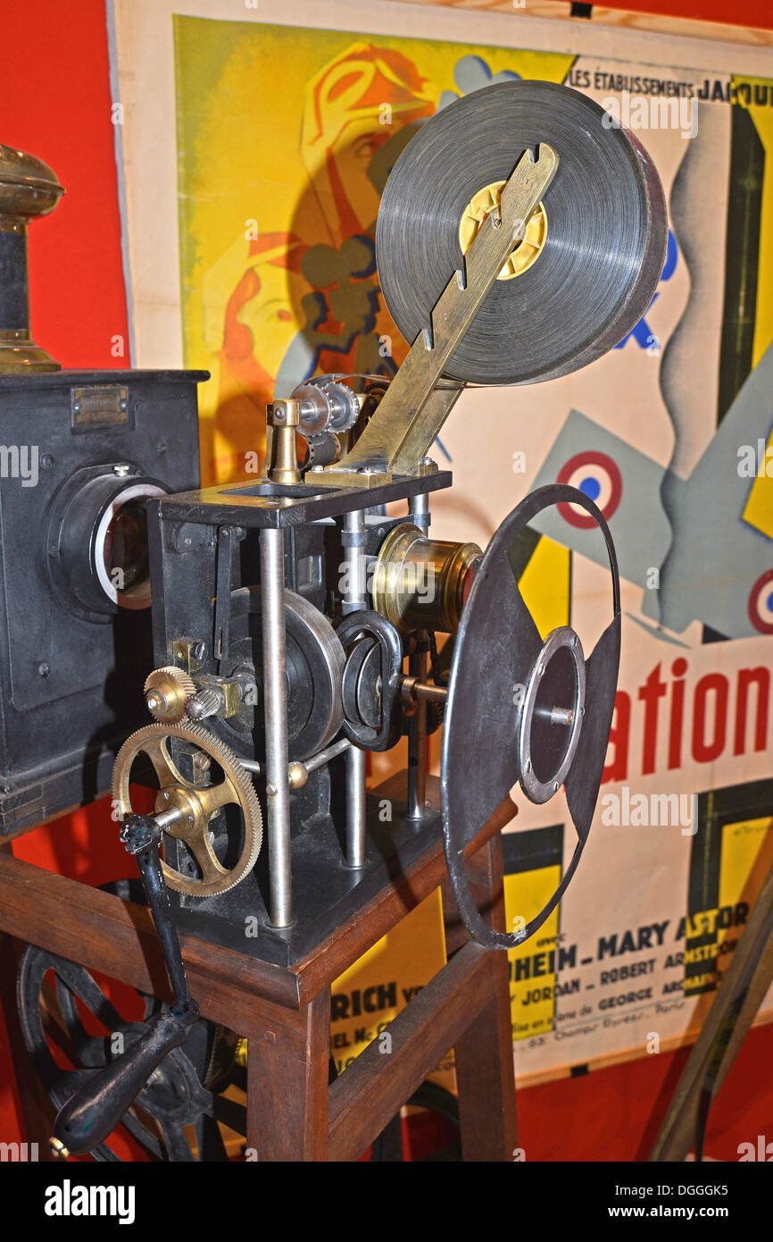old film projector Pathe type Lumiere 1898 - Stock Image