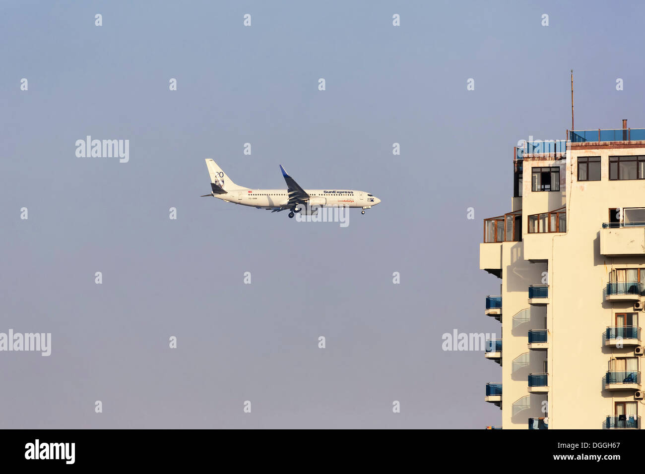 SunExpress Boeing 737-500 passenger airline on the landing approach to Antalya, Turkish Riviera, Turkey, Asia - Stock Image