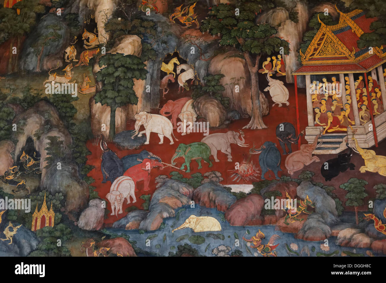 Himaphan wall painting in the Ubosot or ordinary hall of Wat Suthat Temple, Zentralthailand, Bangkok, Bangkok, Thailand - Stock Image