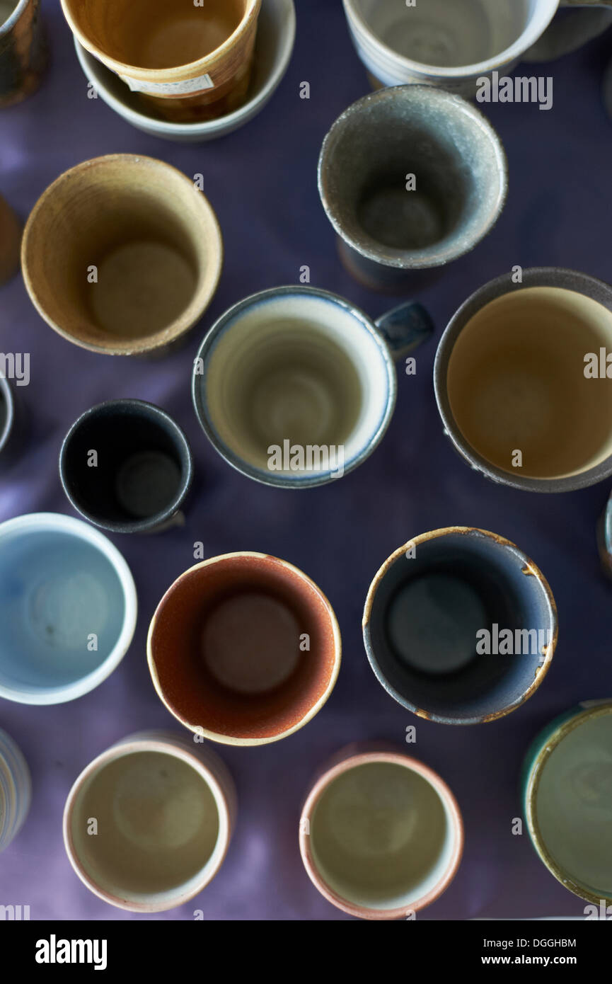 Large group of traditional Japanese ceramics, overhead view - Stock Image