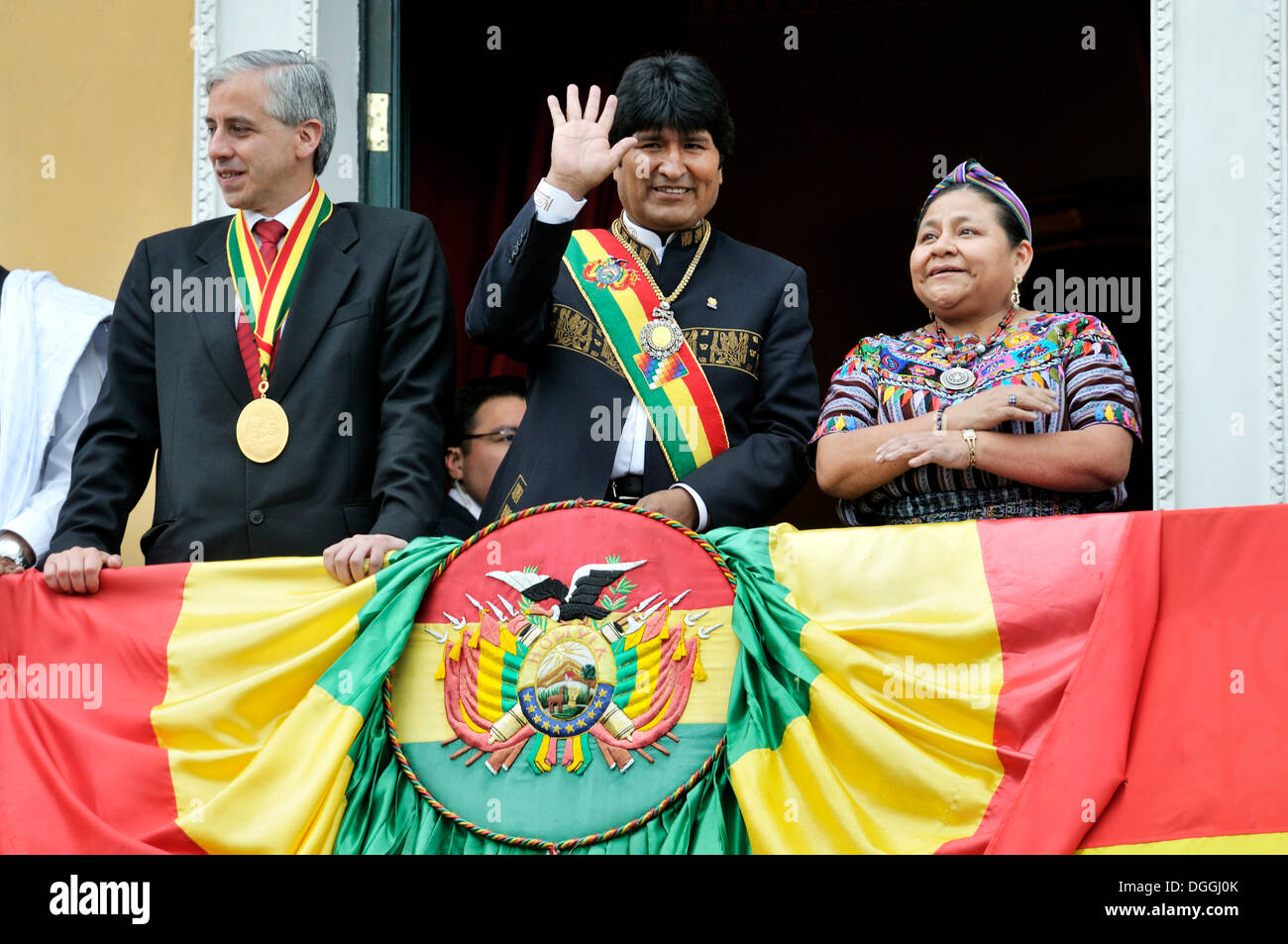 President Evo Morales Ayma greeting his supporters from the balcony of the government palace during his re-election ceremony, - Stock Image