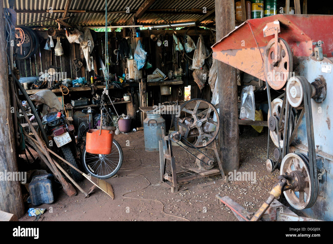 Workshop and spare parts store on a farm, Mato Grosso, Brazil, South America - Stock Image