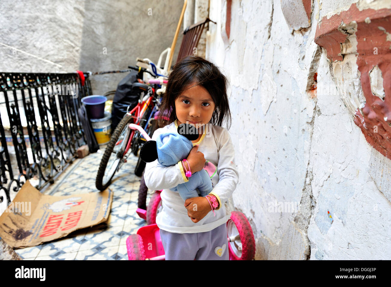 Indigenous girl with a stuffed animal, living with her community in a dilapidated house from the colonial period in the centre - Stock Image