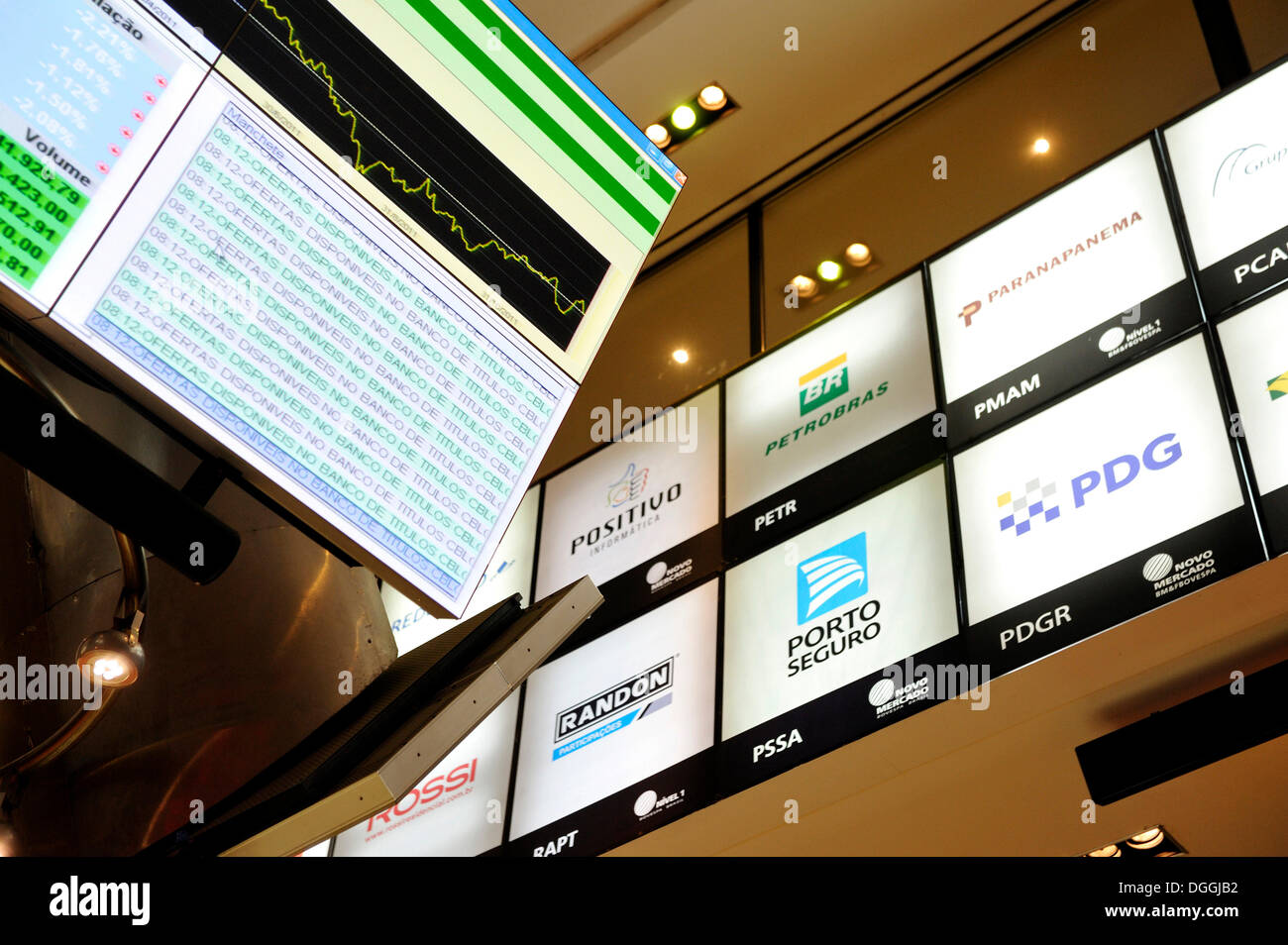 Display of stock market prices and logos of Brazilian companies, visitor centre of Bovespa, the Sao Paulo Stock Exchange, Brazil - Stock Image
