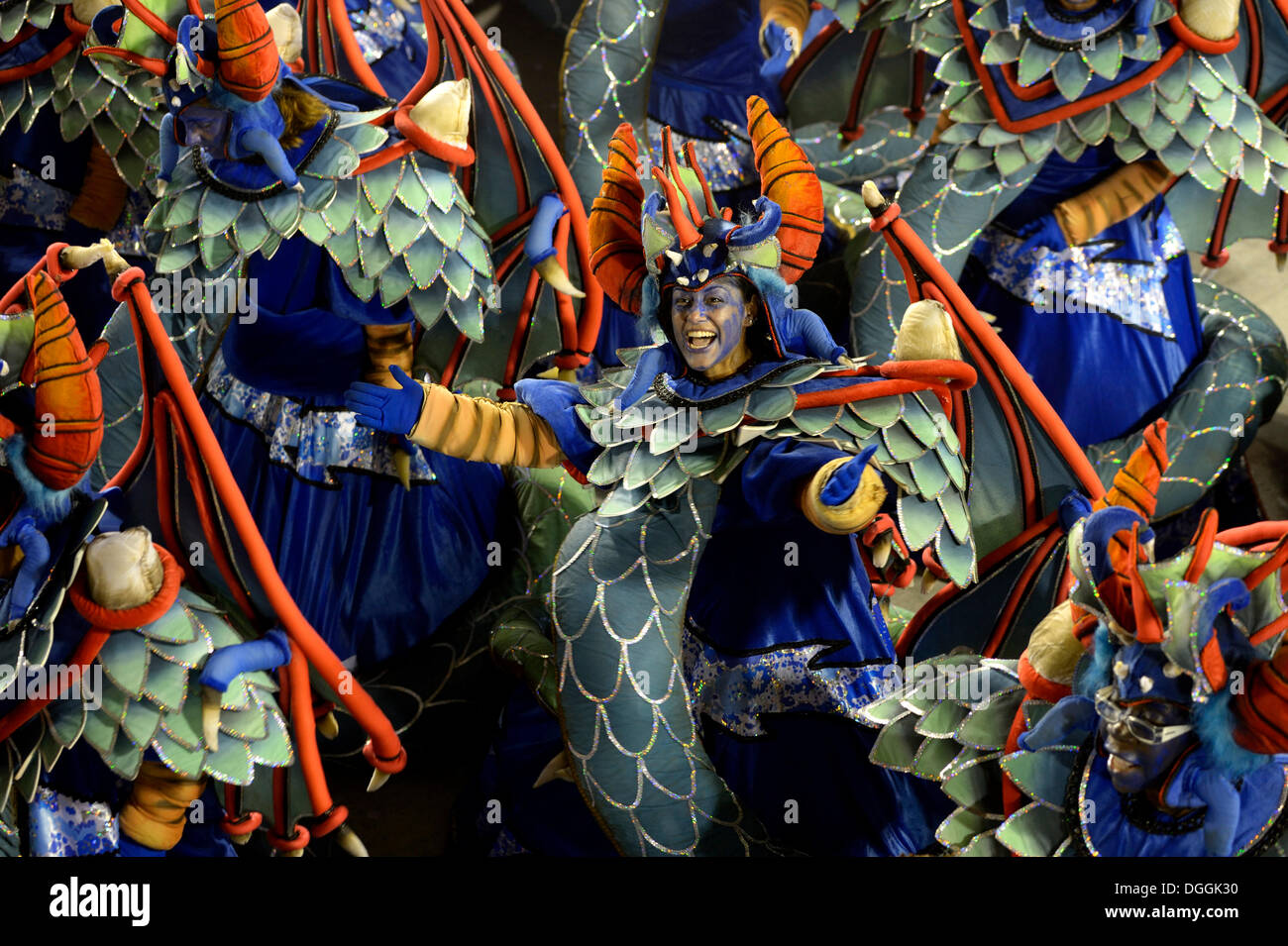 Samba dancers dressed in fanciful costumes, parade of the samba school Unidos da Tijuca, themed 'Enchanted Germany', Sambodromo - Stock Image