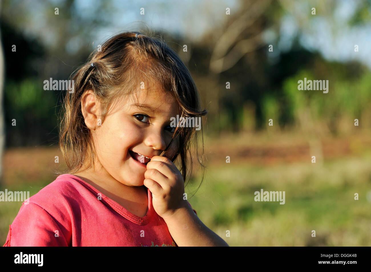 Girl, 3, Pastoreo, Caaguazú Department, Paraguay - Stock Image