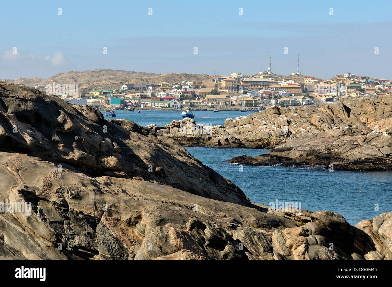 View from Shark Island of the seaside town of Luderitz in Namibia - Stock Image