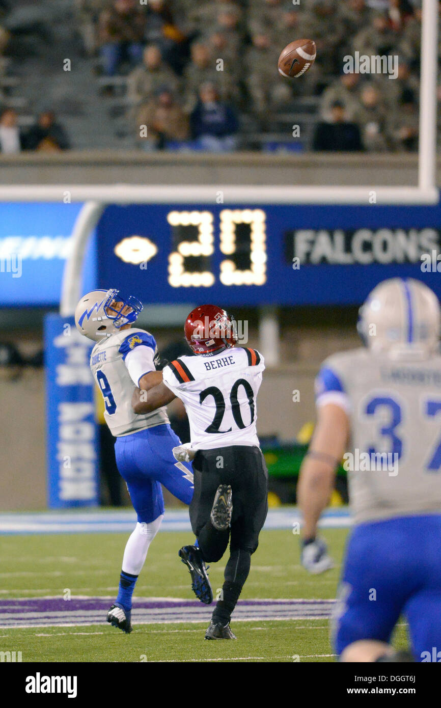 Wide receiver Jalen Robinette, a freshman, is lofted a pass as Air Force met Mountain West Conference rival San Diego State at the U.S. Air Force Academy's Falcon Stadium in Colorado Springs, Colo. Oct. 10, 2013. The Aztecs scored three touchdowns in the - Stock Image