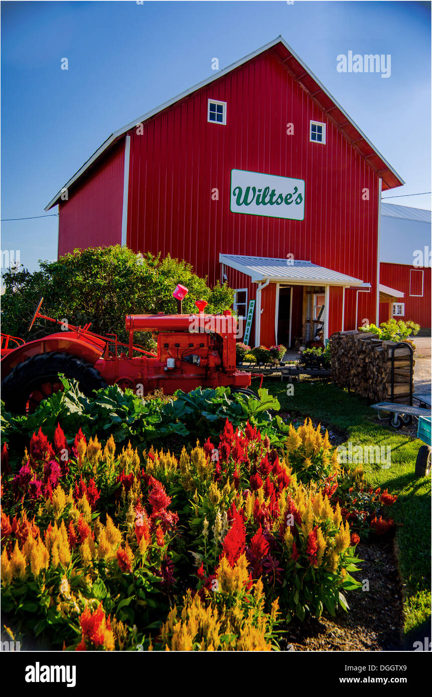 Wiltse's Farm Stand near DeKalb, Illinois, a town along the Lincoln Highway, features farm fresh produce. - Stock Image