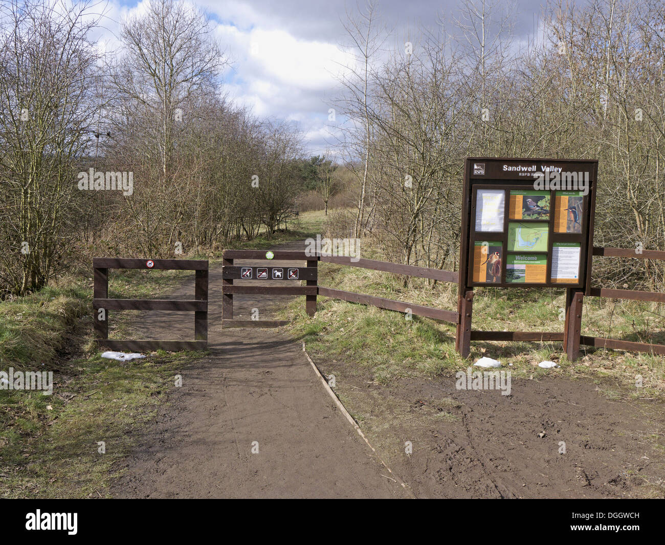 Reserve entrance sign and path, Sandwell Valley RSPB Reserve, West Midlands, England, April - Stock Image
