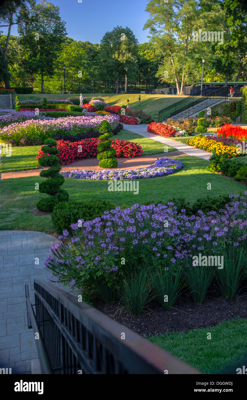 The Sunken Gardens in Phillips Park in Aurora, Illinois - Stock Image