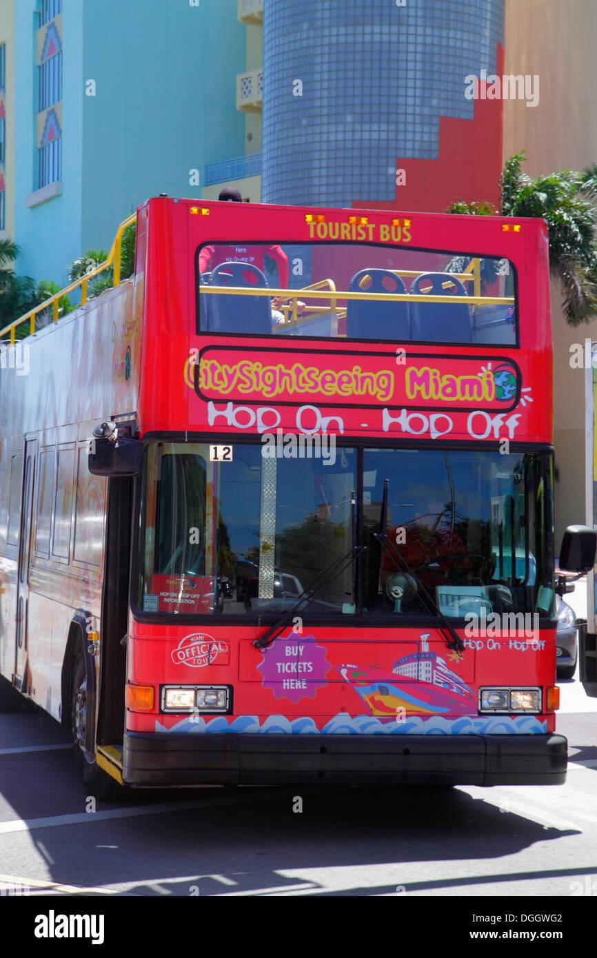 Miami Beach Florida Washington Avenue Tour Bus Double Decker Hop On