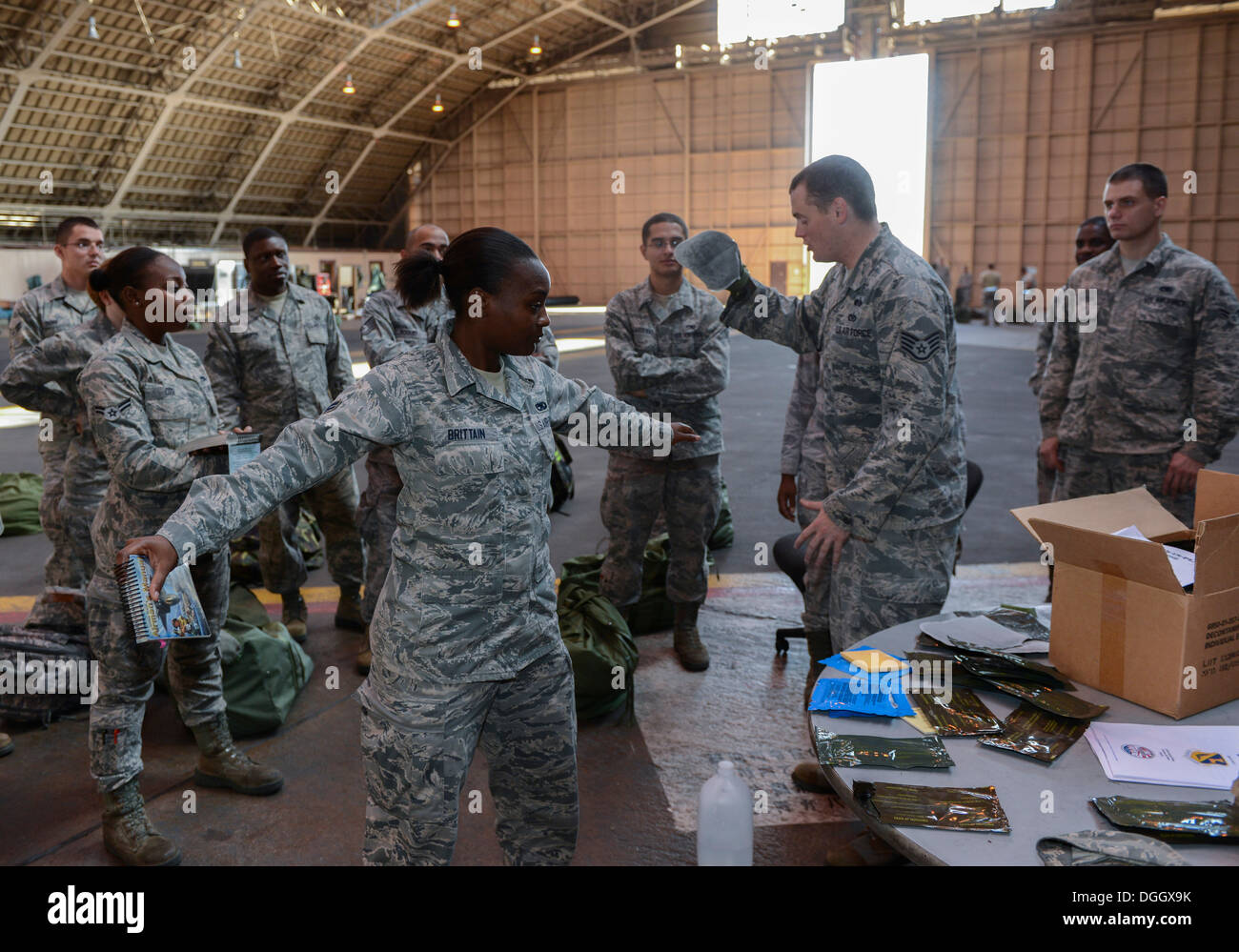 Staff Sgt. Timothy Lyons, 374th Civil Engineer Squadron, simulates patting down Airman 1st Class Brushunda Brittain, 374th Maintenance Squadron, with a M295 decontamination kit during the ability to survive and operate rodeo at Yokota Air Base, Japan, Oct - Stock Image