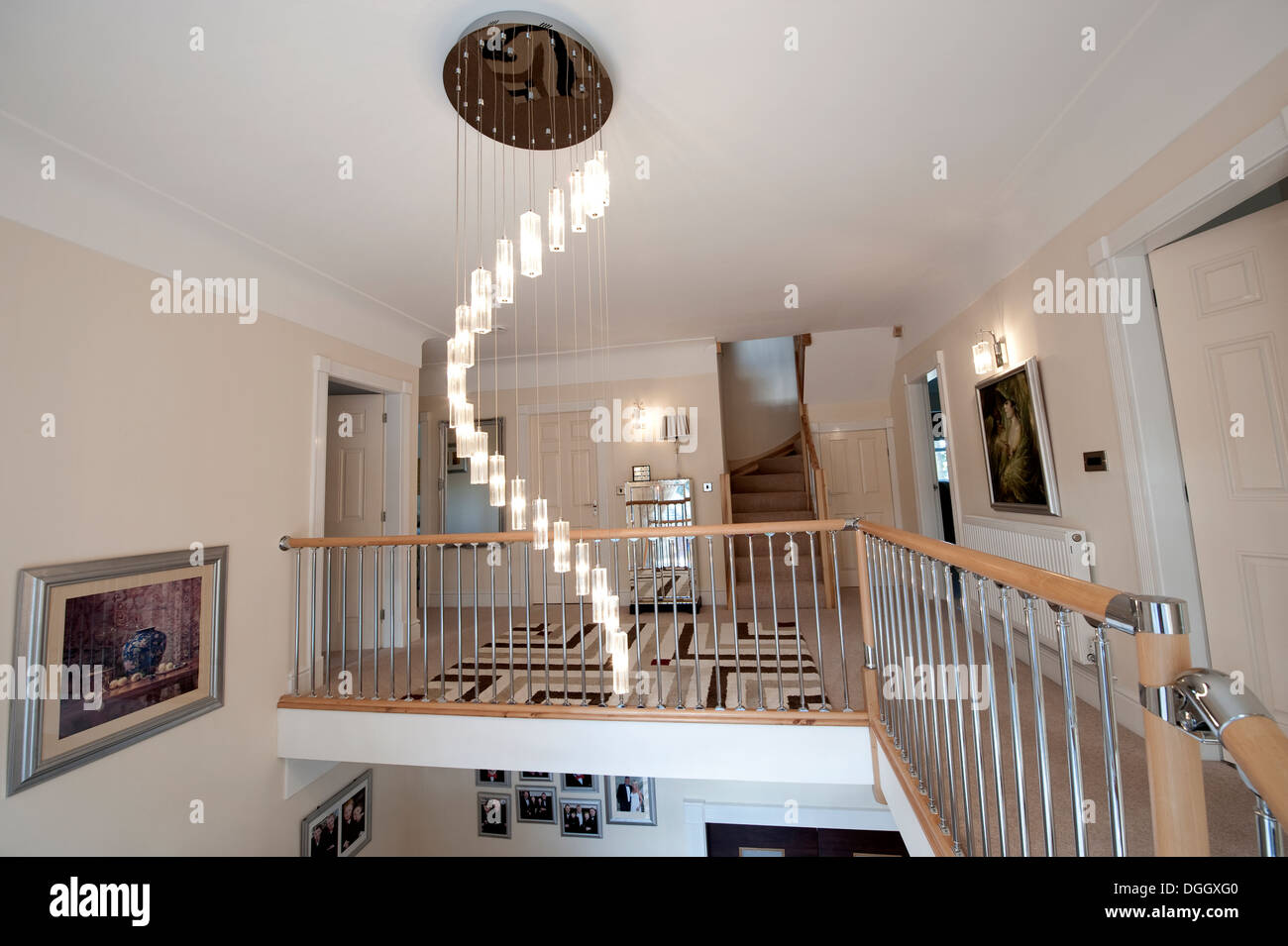 Light fitting stock photos light fitting stock images alamy ultra modern entrance hall landing light fitting spiral stock image arubaitofo Choice Image