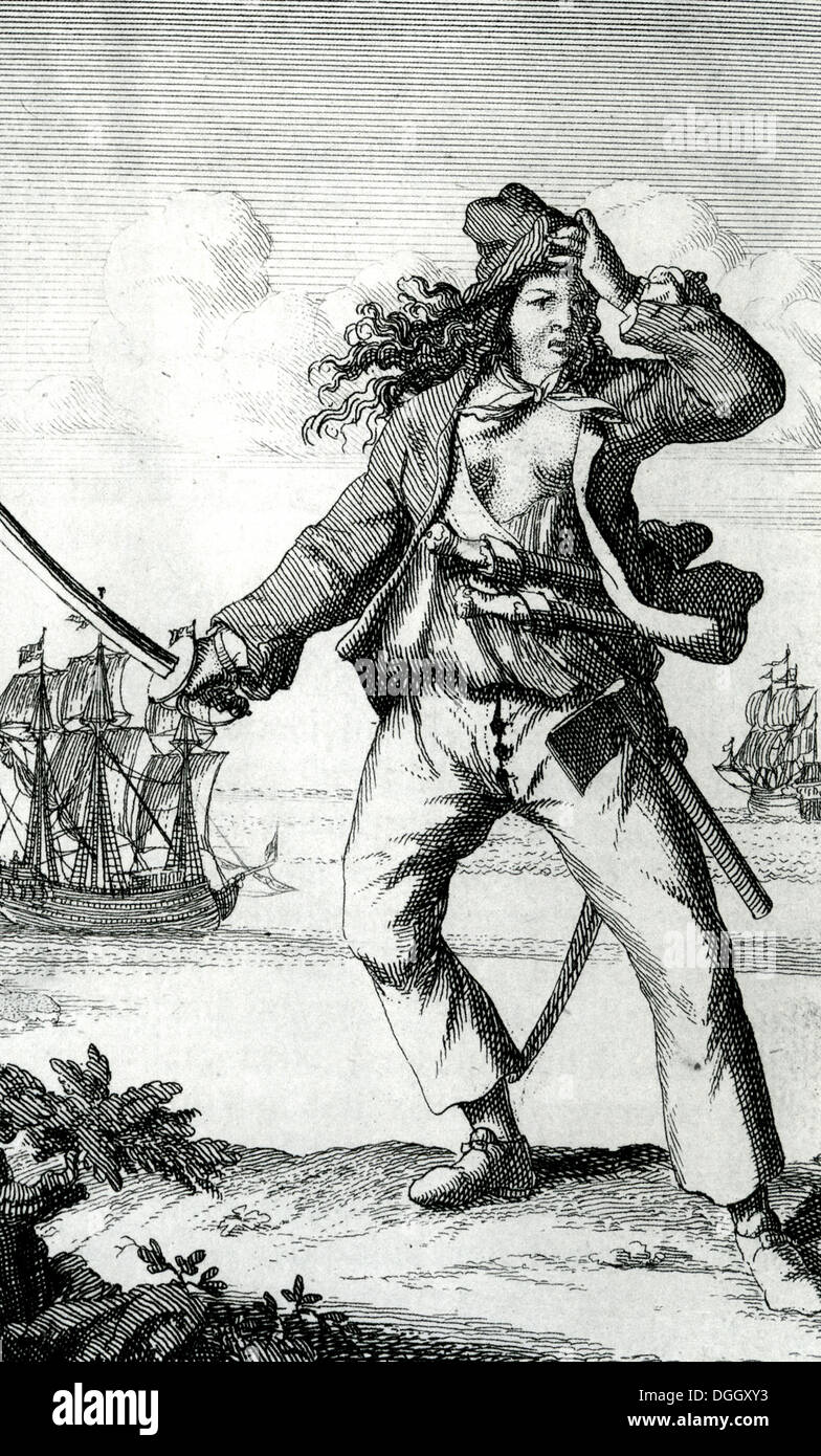 ANNE BONNY (1702-1782) Irish female pirate in A General History of the Robberies and Murders of the most Notorious Pyrates,1724 - Stock Image