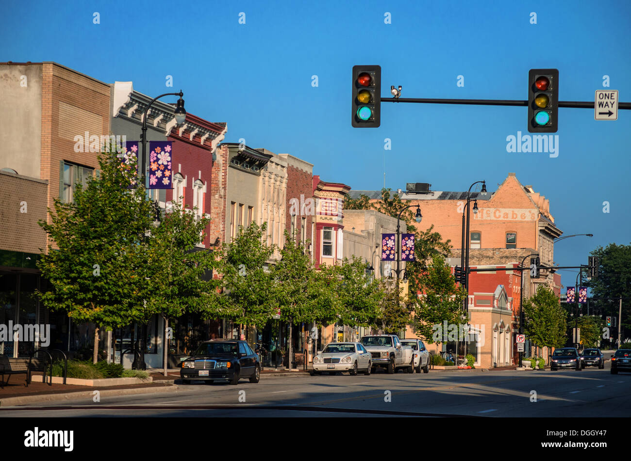 Historic buildings in downtown DeKalb, Illinois, a town along the Lincoln Highway - Stock Image