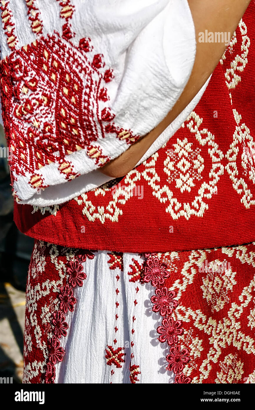 Detail from traditional Romanian folk costume for women, specific on Banat area. - Stock Image