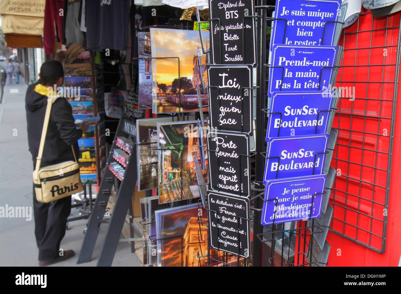 Paris France Europe French 9th arrondissement Place d'Estienne d'Orves souvenir shop store sale shopping humor humour - Stock Image