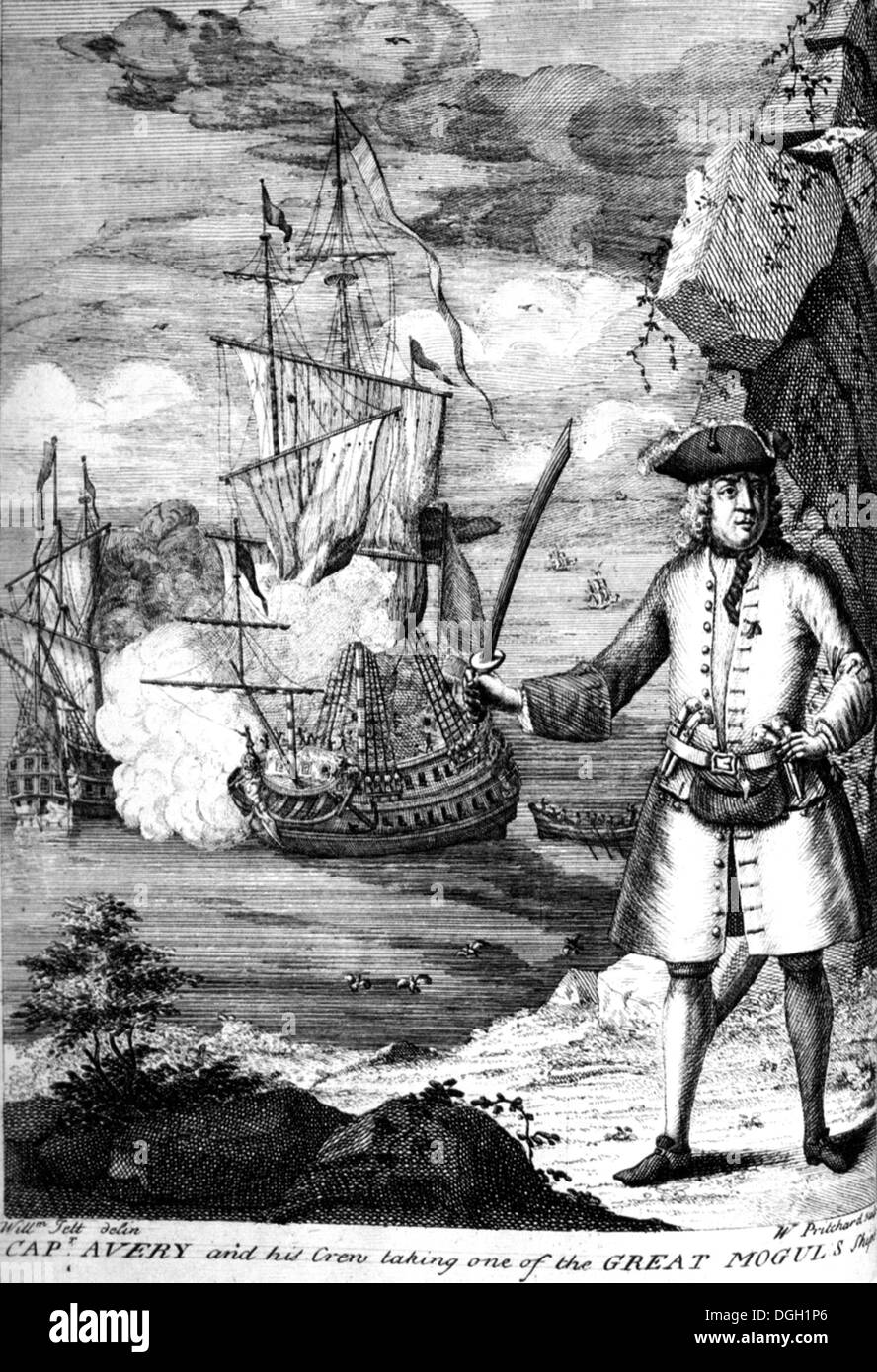 HENRY AVERY  (1659-1696 ?) English pirate taking one of the Great Mogul's Ships in an 18th century engaving - Stock Image