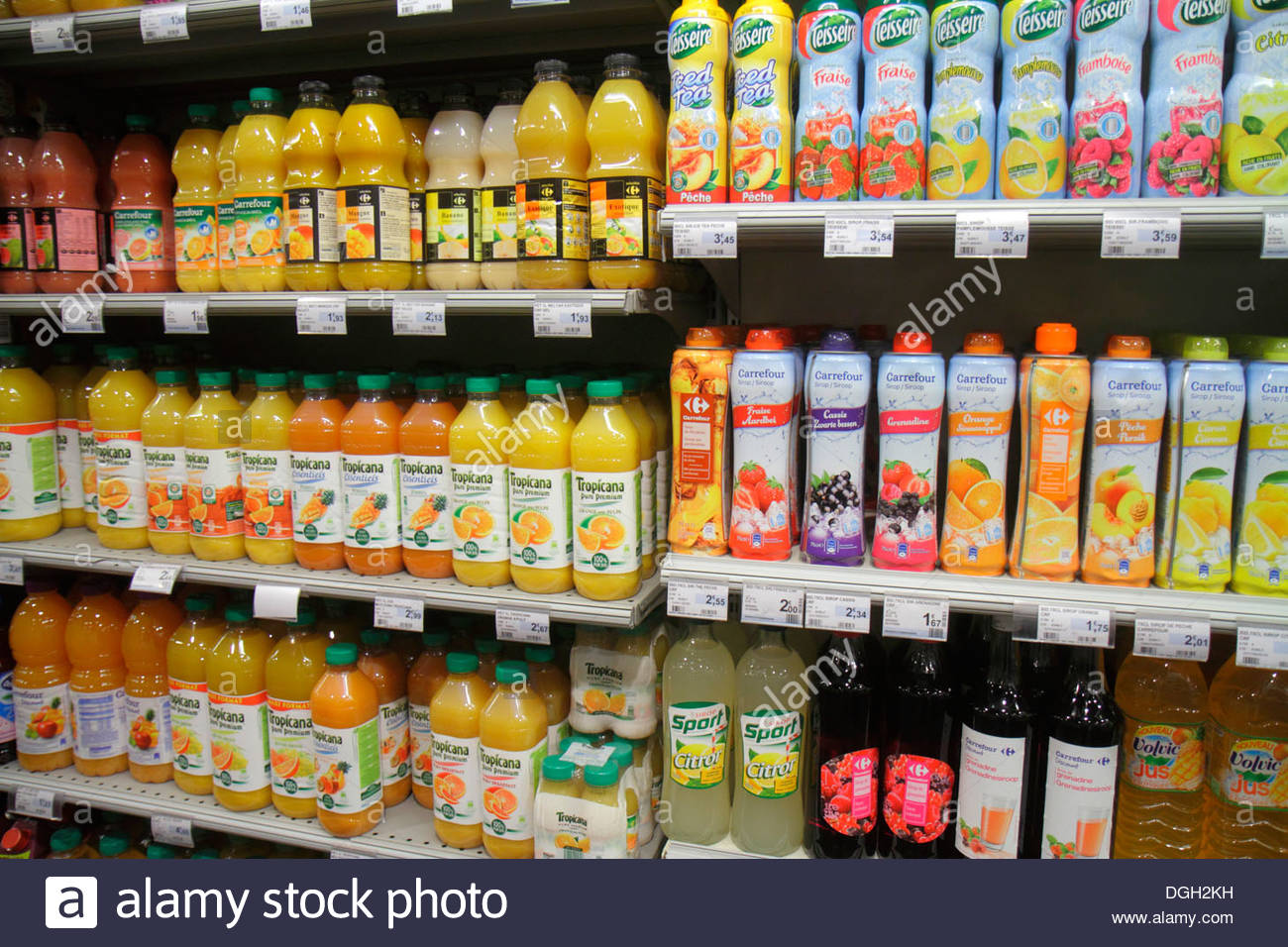 Paris France Europe French 9th arrondissement Rue Jean-Baptiste Pigalle Carrefour City supermarket grocery store shopping sale s - Stock Image
