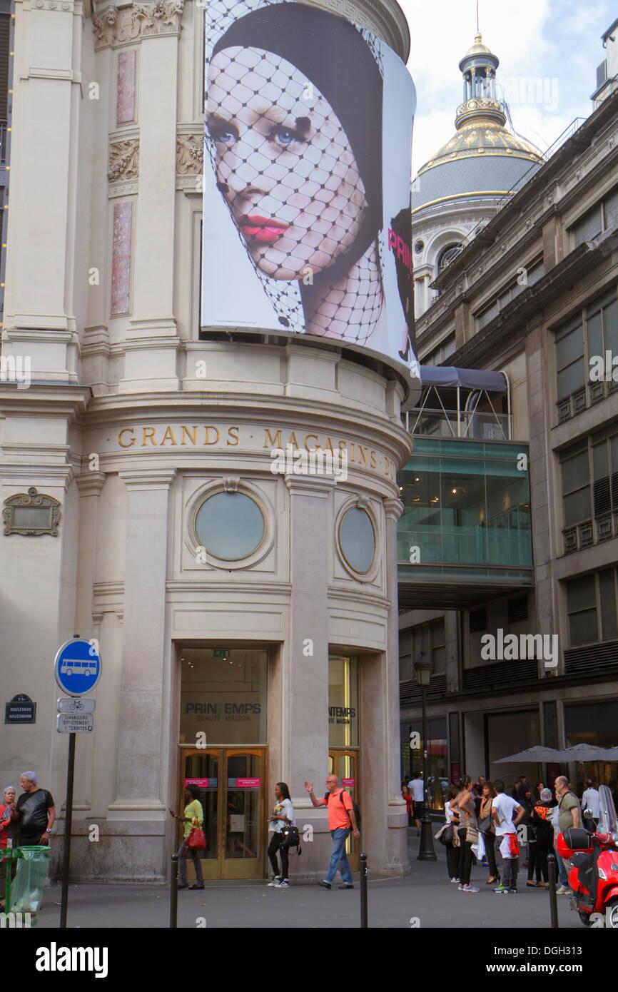 Paris France Europe French 9th arrondissement Boulevard Haussmann shopping Grands Magasins du Printemps department store exterio - Stock Image