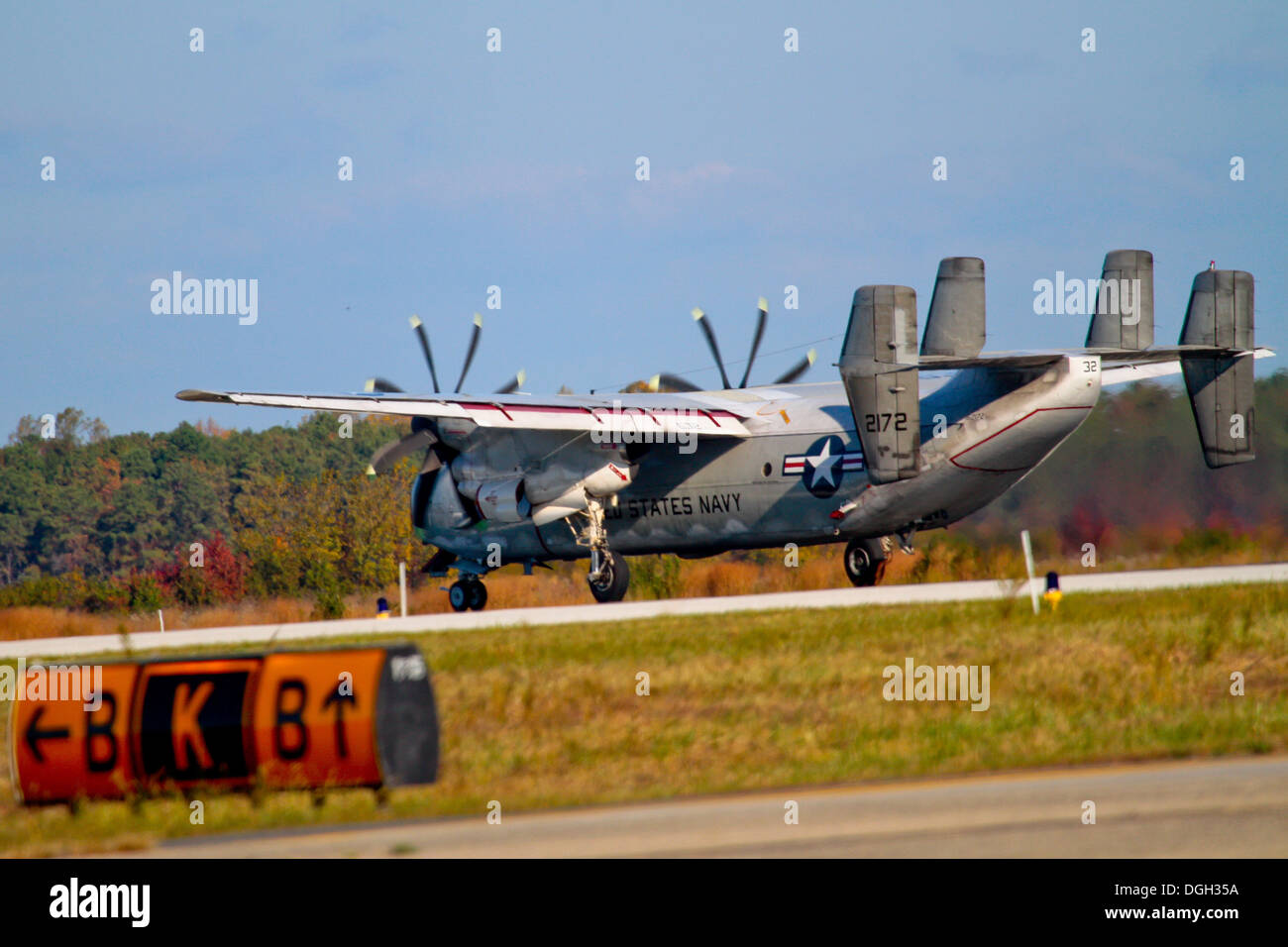 A U.S. Navy C-2A Greyhound from VAW-120 lands at Atlantic City International Airport, N.J. for a 'touch and go' practice landing on Oct. 18. VAW-120, known as the 'Greyhawks,' are based out of NAS Norfolk, Va. - Stock Image