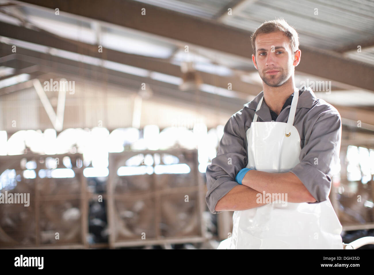 Portrait of a dairy farm worker - Stock Image