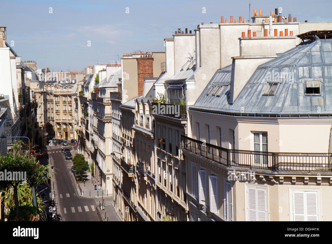 Paris France Europe French 9th arrondissement Rue la Bruyere aerial historic Haussmann apartment buildings rooftops street chimn - Stock Image
