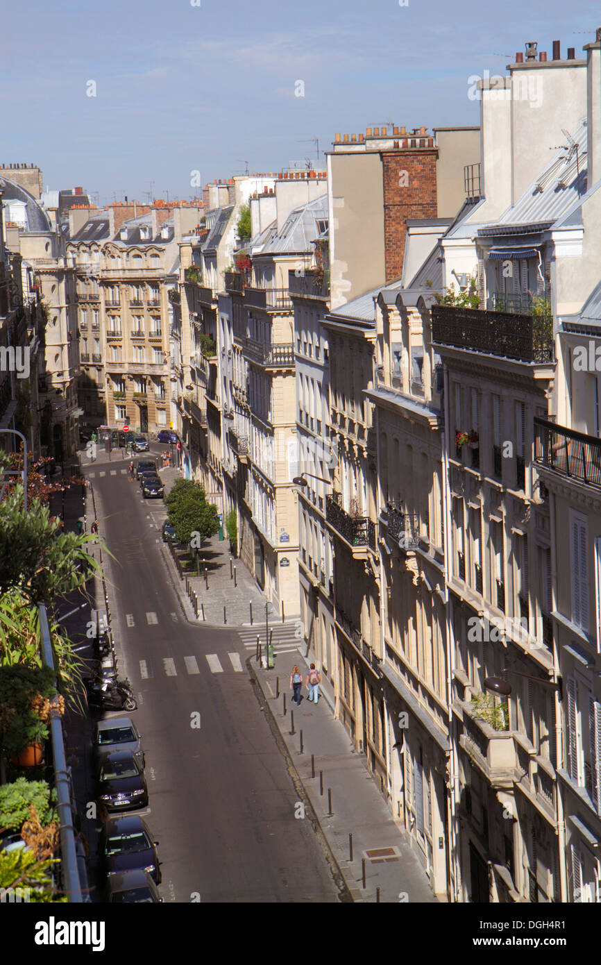 Paris France Europe French 9th arrondissement Rue la Bruyere aerial historic Haussmann apartment buildings rooftops street - Stock Image