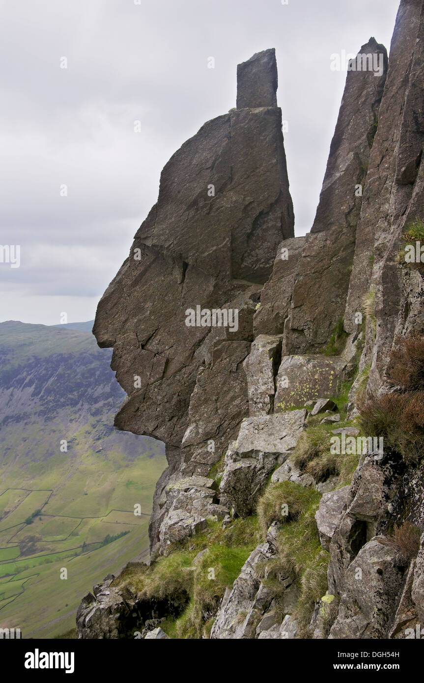 'Sphinx Rock' rock formation on fell, Great Gable, Lake District N.P., Cumbria, England, June - Stock Image