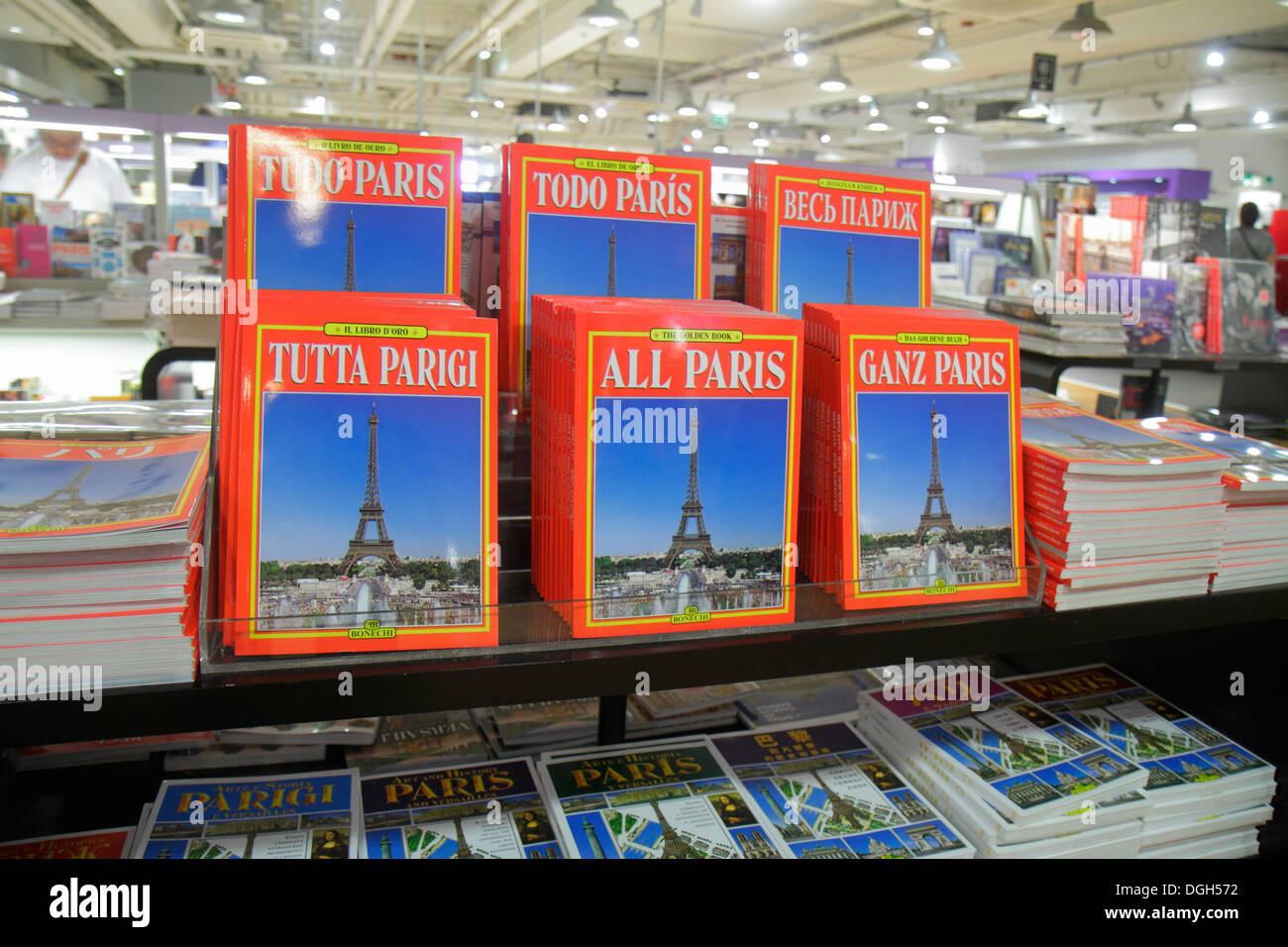 Paris France Europe French 9th arrondissement Boulevard Haussmann Galeries Lafayette department store shopping guide books guide - Stock Image
