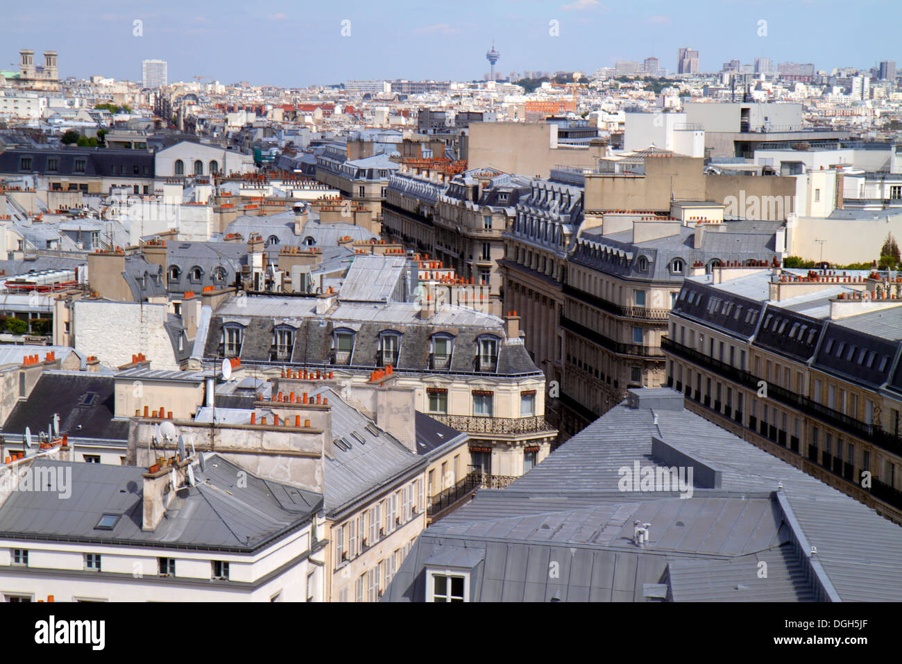 Paris France Europe French Fauborg-Montmatre Rochechouart aerial rooftops city skyline Rue La Fayette Galeries Lafayette terrace - Stock Image