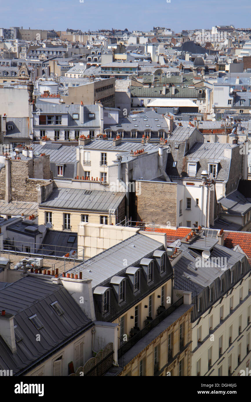 Paris France Europe French aerial rooftops city skyline Galeries Lafayette terrace observation viewing deck view Batignolles his - Stock Image