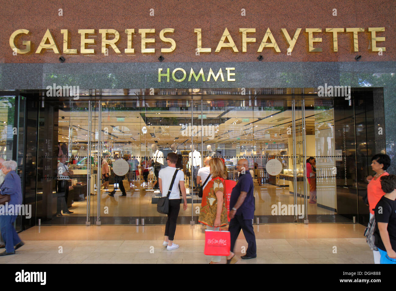 Paris France Europe French 9th arrondissement Boulevard Haussmann Galeries Lafayette department store shopping front entrance Ho - Stock Image