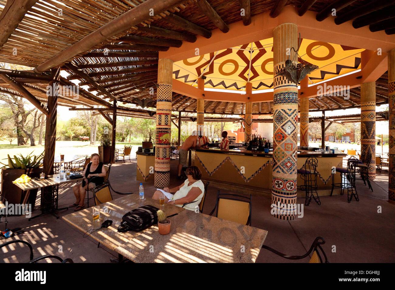 The bar at the Zambezi Sun Hotel, Zambia, Africa - Stock Image