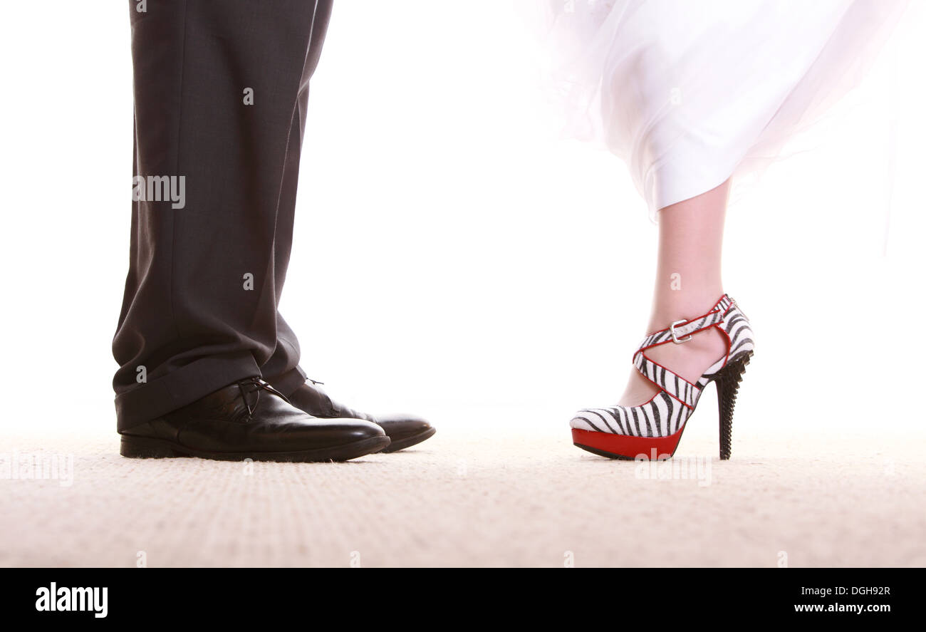 b30b507b469a Wedding couple. Legs of the groom and the bride. Feet in footwear shoes  indoor