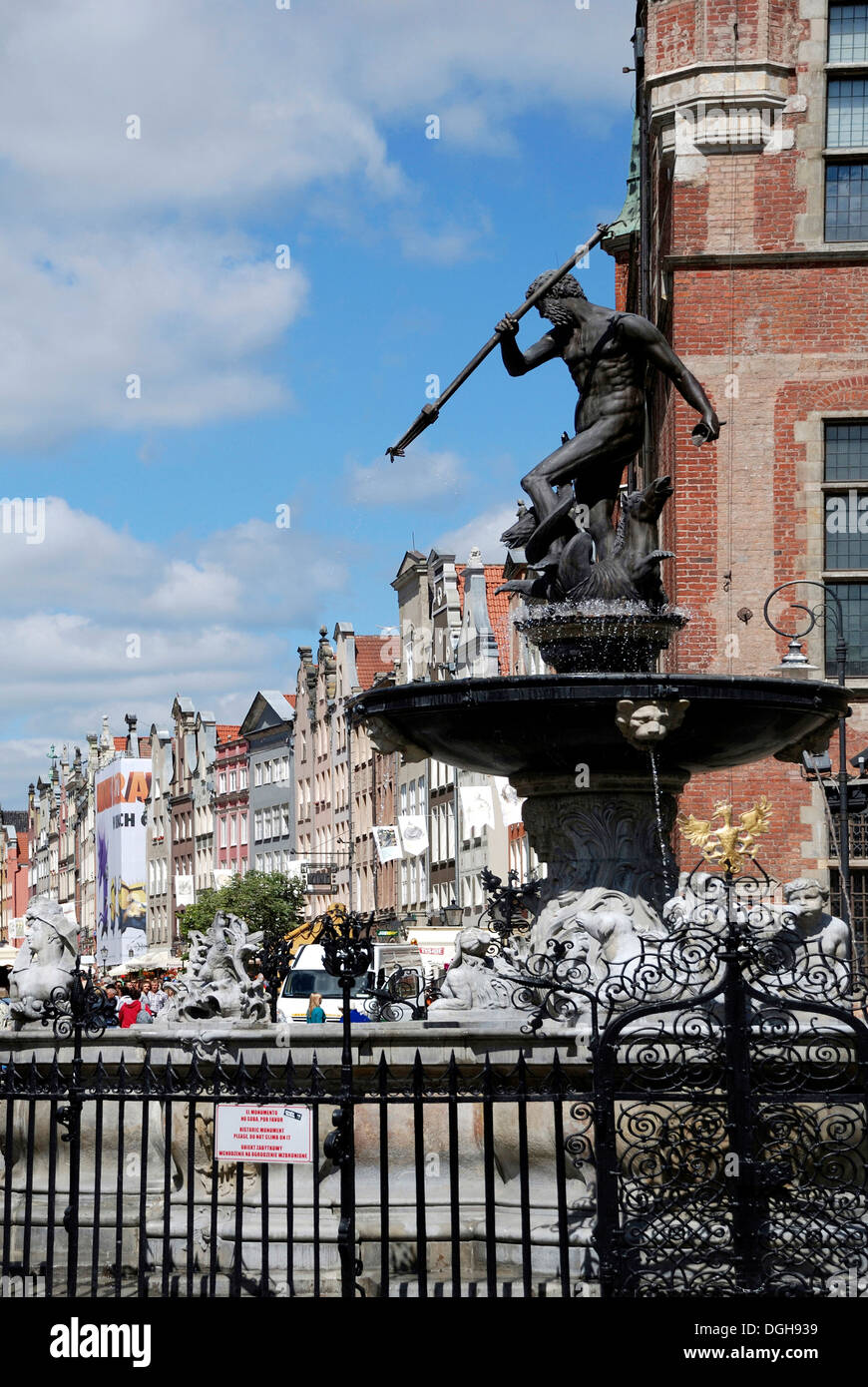 Neptune fountain at the Long Market in Gdansk. Stock Photo