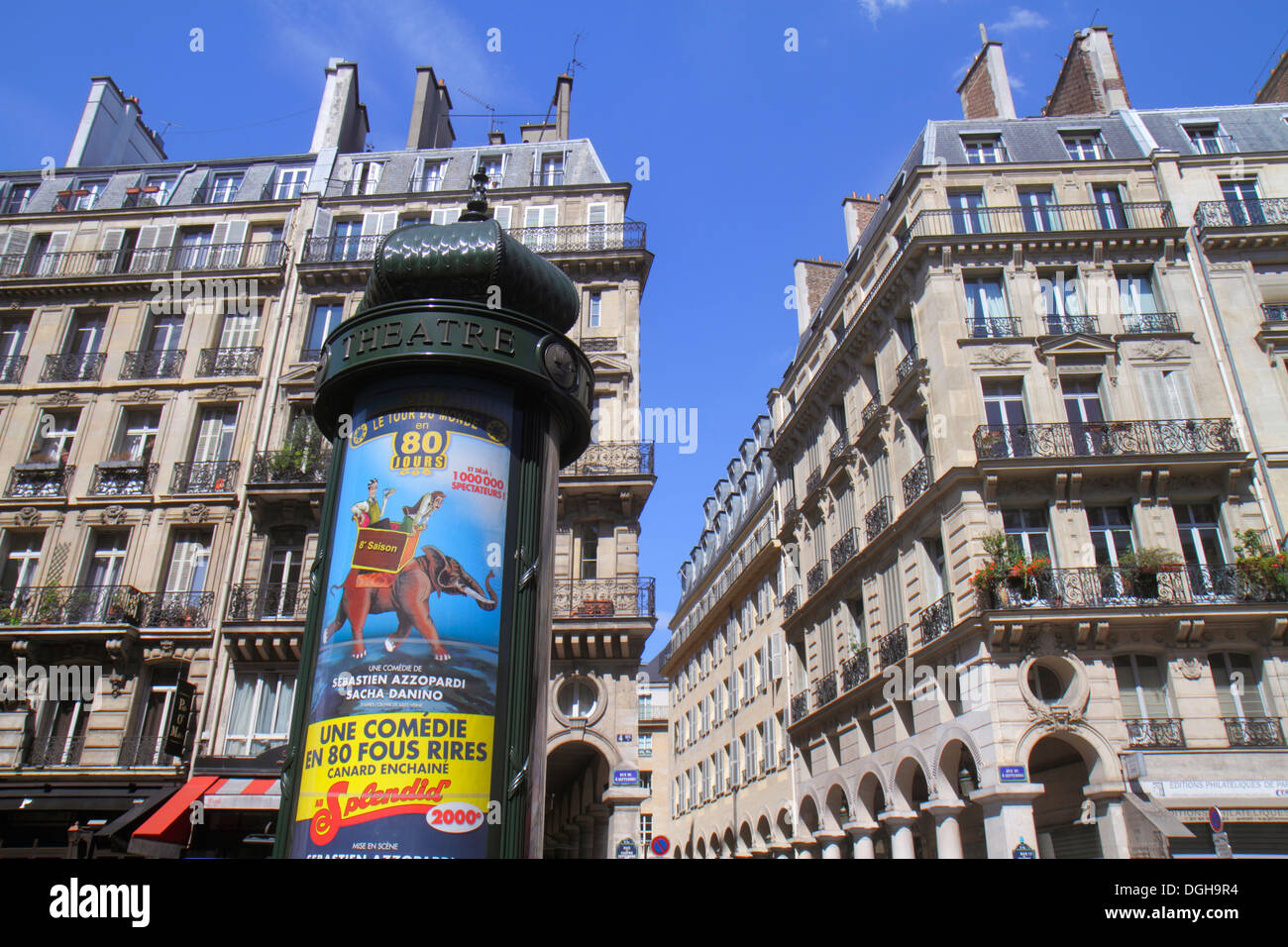 Paris France Europe French 2nd arrondissement Rue du 4 Septembre billboard bulletins theatre Morris column cylindrical advertisi - Stock Image